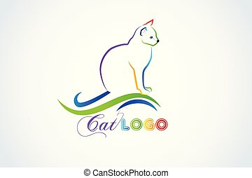 silhouette, kat, vector, logo, identiteitskaart