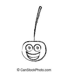 silhouette kawaii happy cherry icon