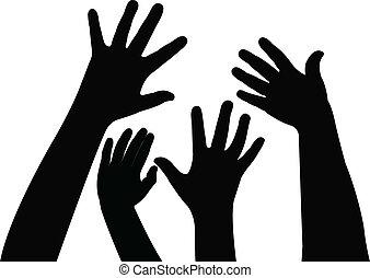 silhouette, kinderen, handen, spelend