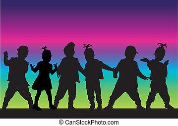 silhouette, kinderen