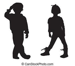 silhouette, kinderen, vrolijke
