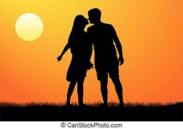 Silhouette kiss of young man and woman on sunset background,...