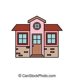 silhouette, kleurrijke, muur, woning, kleine, facade, baksteen