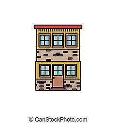 silhouette, kleurrijke, muur, woning, twee, vloeren, facade, baksteen