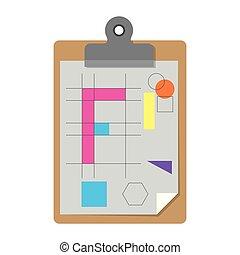 silhouette, kleurrijke, notepad, ontwerp, achtergrond, tafel, blad, witte , geometrisch