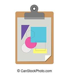 silhouette, kleurrijke, notepad, vormen, achtergrond, tafel, blad, witte , geometrisch