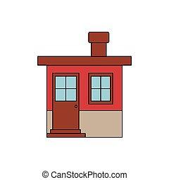silhouette, kleurrijke, woning, facade, kleine, schoorsteen