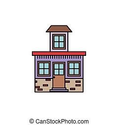 silhouette, kleurrijke, zoldertjes, woning, facade, kleine, baksteen muur