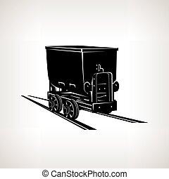 silhouette, kolenmijn, wagentje