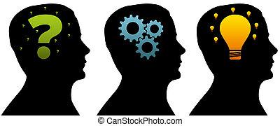 silhouette, kopf, -, denken, prozess