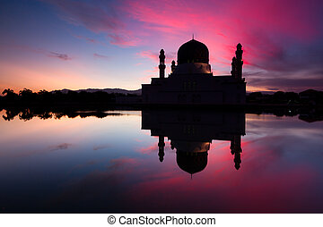 Silhouette Kota Kinabalu city mosque at dawn in Sabah, Malaysia, Borneo