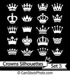 silhouette, krone, vektor, -, sammlung
