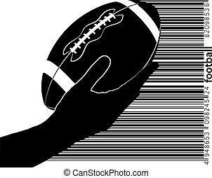 silhouette, kugel, hält, rugby, hand