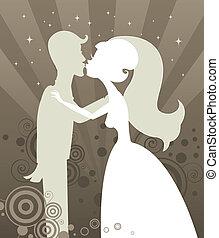 silhouette, kus, trouwfeest