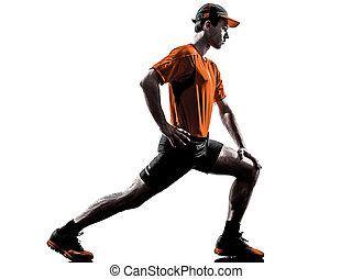 silhouette, läufer, dehnen, auf, jogger, wärmen, mann