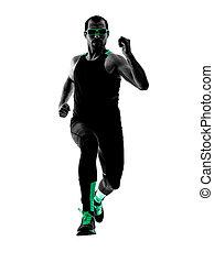 silhouette, läufer, jogger, bemannen lauf, jogging