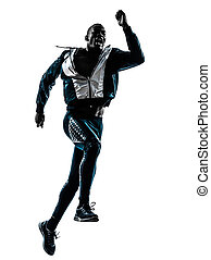 silhouette, läufer, jogger, sprinter, mann