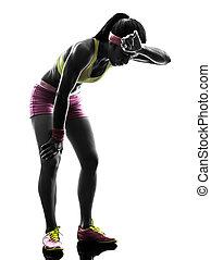 silhouette, läufer, rennender , frau, atemlos, muede