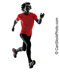silhouette, läufer, rennender , freigestellt, jogger, jogging, bac, weißes, mann