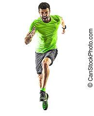 silhouette, läufer, rennender , freigestellt, jogger, jogging, hintergrund, weißes, mann