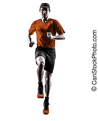 silhouette, läufer, rennender , jogger, jogging, springende , mann