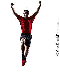 silhouette, läufer, rennender , jogger, jogging, springende