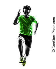 silhouette, läufer, sprinter, bemannen lauf, junger