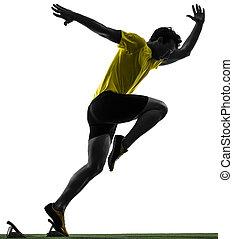 silhouette, läufer, sprinter, junger, blöcke, beginnen, mann