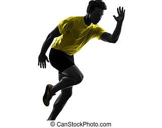 silhouette, läufer, sprinter, junger, rennender , mann