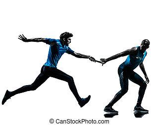 silhouette, läufer, sprinter, mann, stab übergabe