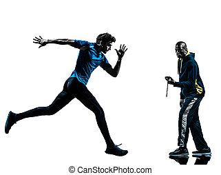 silhouette, läufer, sprinter, trainer, mann, stoppuhr