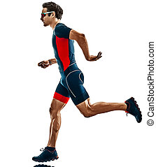 silhouette, läufer, triathlete, hintergrund, triathlon, freigestellt, rennender , weißes
