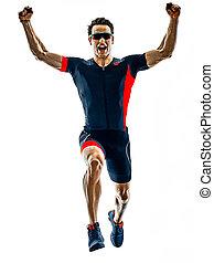 silhouette, läufer, triathlete, triathlon, freigestellt, rennender , weißes, b