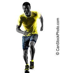 silhouette, läufer, zurück, freigestellt, rennender , jogger, jogging, weißes, mann