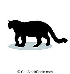 silhouette, léopard, wildcat, noir, animal.