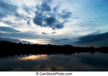 silhouette, lago