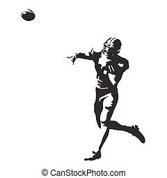 silhouette, lancement, résumé, joueur football, américain, vecteur, balle
