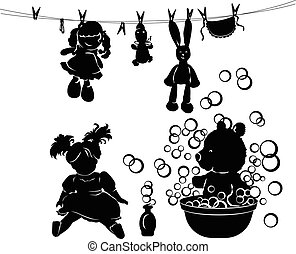 silhouette, lavage, jouets