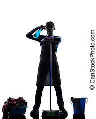 silhouette, lavori domestici, domestica, disperazione, essere sovraccaricato di lavoro, donna