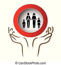 silhouette, leden, gezin, bescherming, karakters, handen