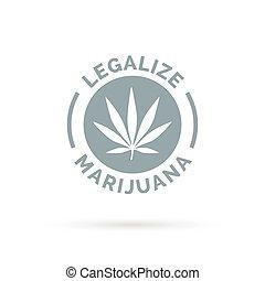silhouette, legalize, marijuana, simbolo., foglia canapa, ...