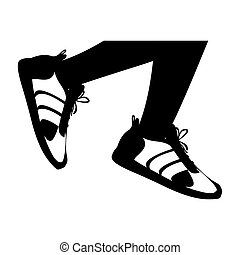 silhouette legs with black Fitness sneakers design icon