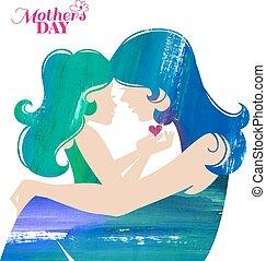 silhouette, lei, madre, figlia, dipinto acrilico