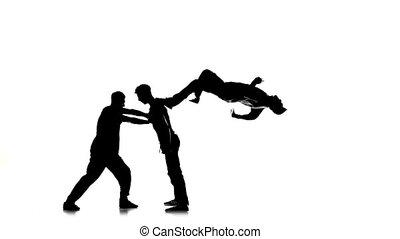 silhouette, lent, breakdance, danse, hommes, trois, jeune, mouvement, blanc, hip-hop
