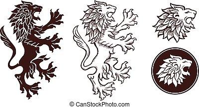 silhouette, leone, araldico