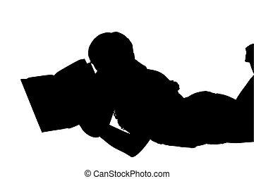 silhouette, lezende