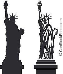 silhouette, liberté, vecteur, york, statue, nouveau
