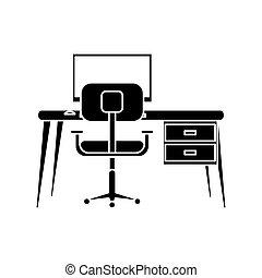 silhouette, lieu travail, moderne, pc, fauteuil, bureau