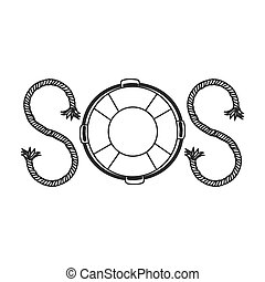silhouette life belt with rope sos inscription