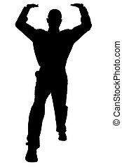 Silhouette Lifting - Silhouette over white with clipping ...